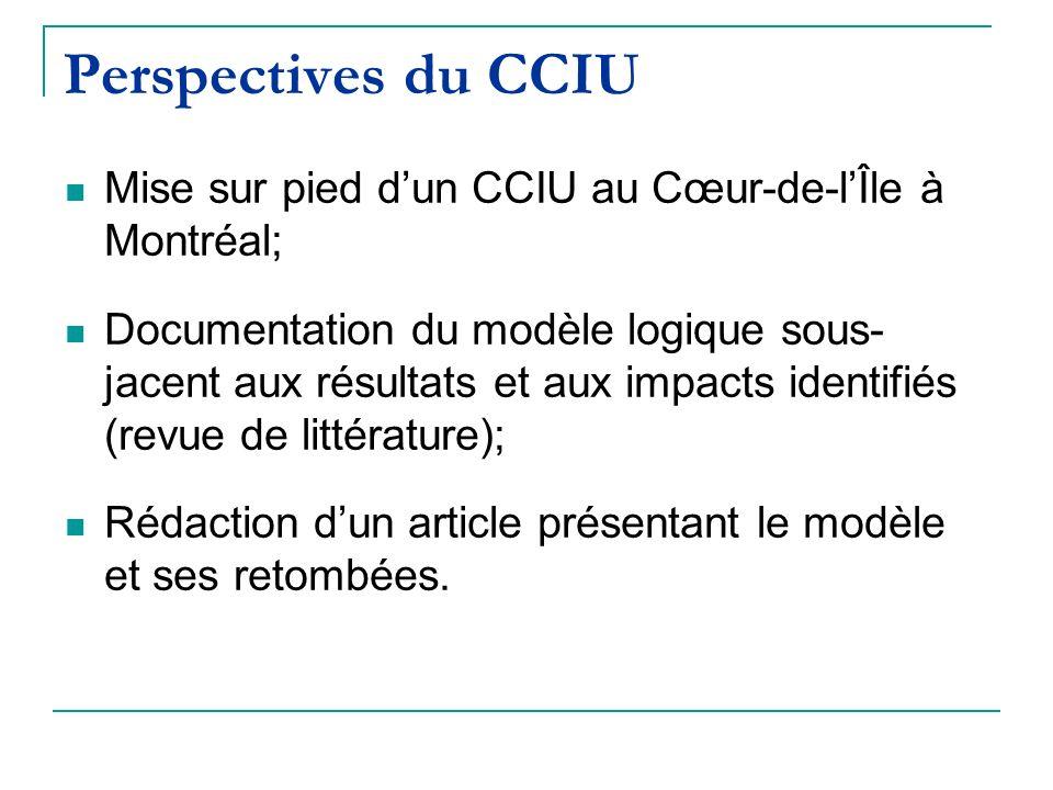 Perspectives du CCIU Mise sur pied dun CCIU au Cœur-de-lÎle à Montréal; Documentation du modèle logique sous- jacent aux résultats et aux impacts identifiés (revue de littérature); Rédaction dun article présentant le modèle et ses retombées.