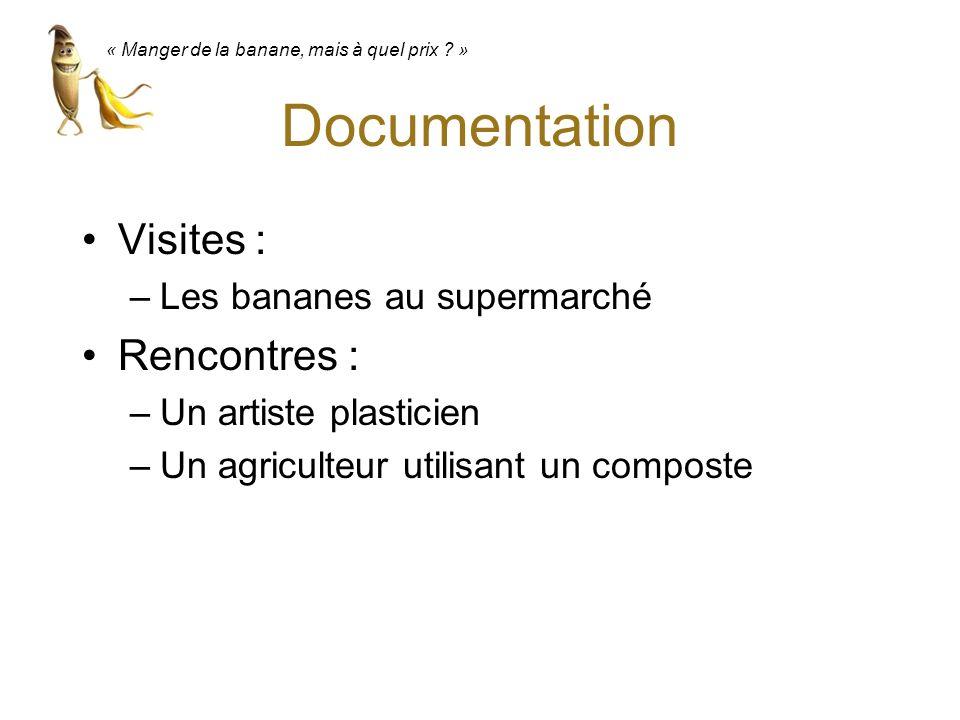Documentation Visites : –Les bananes au supermarché Rencontres : –Un artiste plasticien –Un agriculteur utilisant un composte « Manger de la banane, m