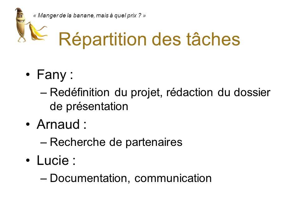 Répartition des tâches Fany : –Redéfinition du projet, rédaction du dossier de présentation Arnaud : –Recherche de partenaires Lucie : –Documentation,