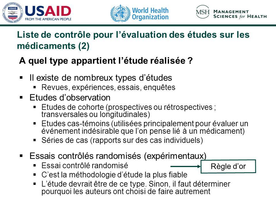 Liste de contrôle pour lévaluation des études sur les médicaments (1) Pourquoi létude a-t-elle été réalisée ? Quelle était la question clinique posée