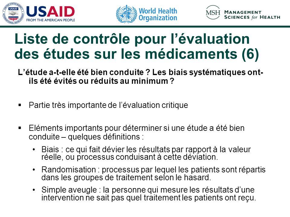 Liste de contrôle pour lévaluation des études sur les médicaments (5) Qui étaient les sujets étudiés .