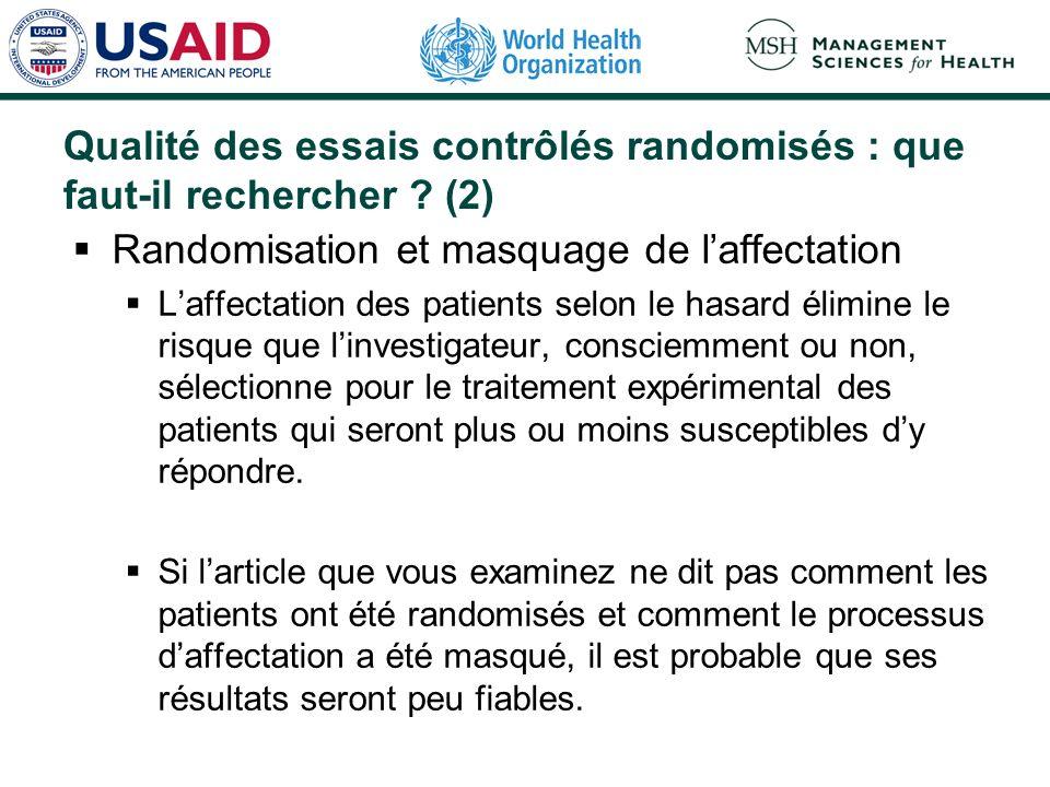 Qualité des essais contrôlés randomisés : que faut-il rechercher ? (1) Principales caractéristiques qui permettent de déterminer la fiabilité dun essa