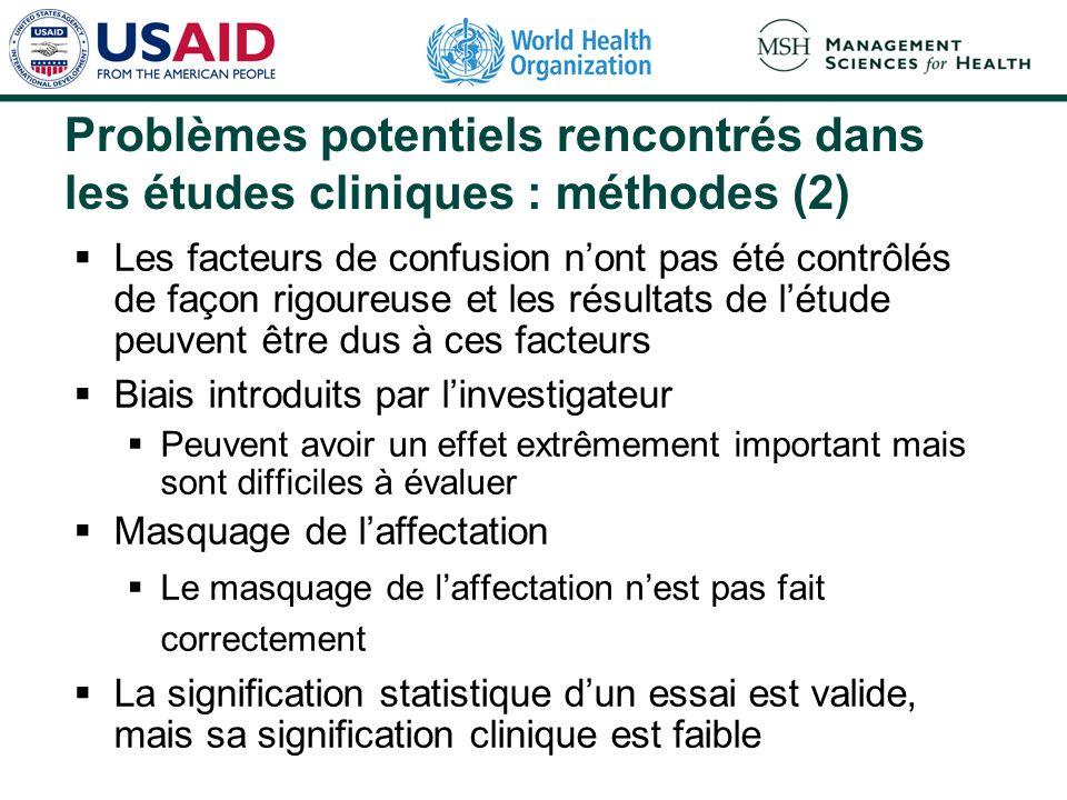 Problèmes potentiels rencontrés dans les études cliniques : méthodes (1) Echantillon de patients Les patients étudiés ne sont pas représentatifs de la population qui prendra le médicament.