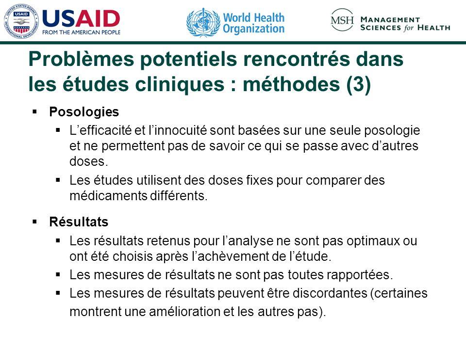Problèmes potentiels rencontrés dans les études cliniques : méthodes (2) Les facteurs de confusion nont pas été contrôlés de façon rigoureuse et les r