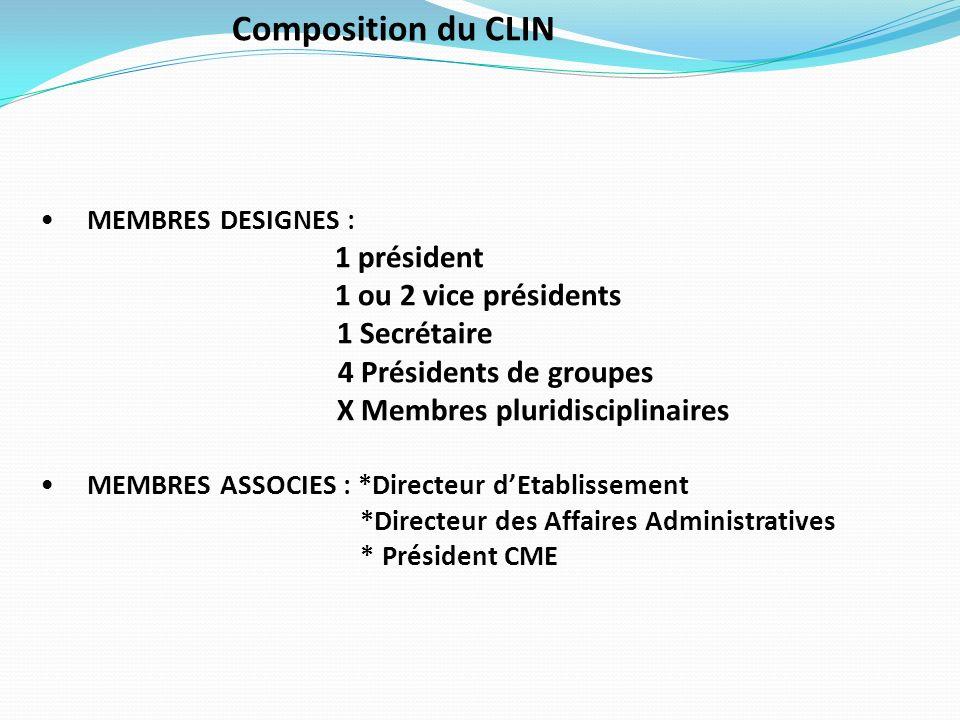 Composition du CLIN MEMBRES DESIGNES : 1 président 1 ou 2 vice présidents 1 Secrétaire 4 Présidents de groupes X Membres pluridisciplinaires MEMBRES A