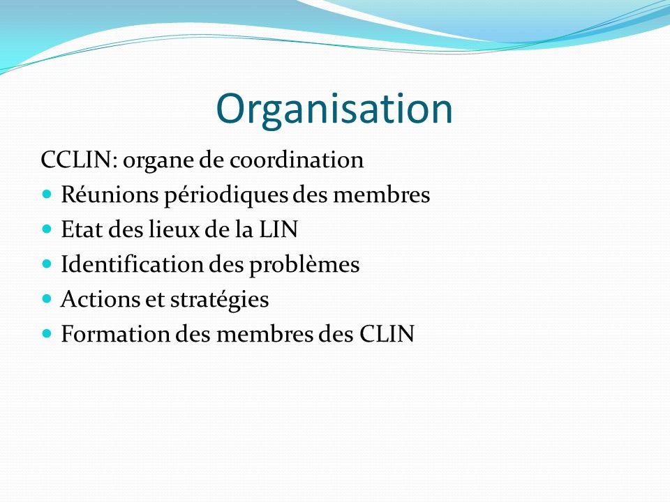 Organisation CCLIN: organe de coordination Réunions périodiques des membres Etat des lieux de la LIN Identification des problèmes Actions et stratégies Formation des membres des CLIN