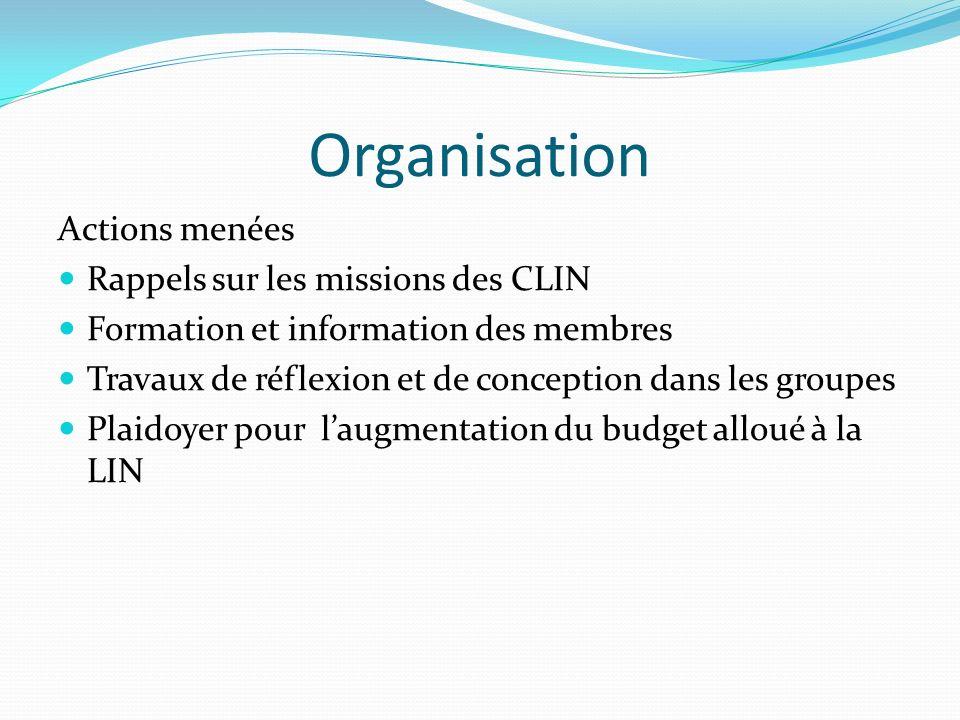 Organisation Actions menées Rappels sur les missions des CLIN Formation et information des membres Travaux de réflexion et de conception dans les groupes Plaidoyer pour laugmentation du budget alloué à la LIN