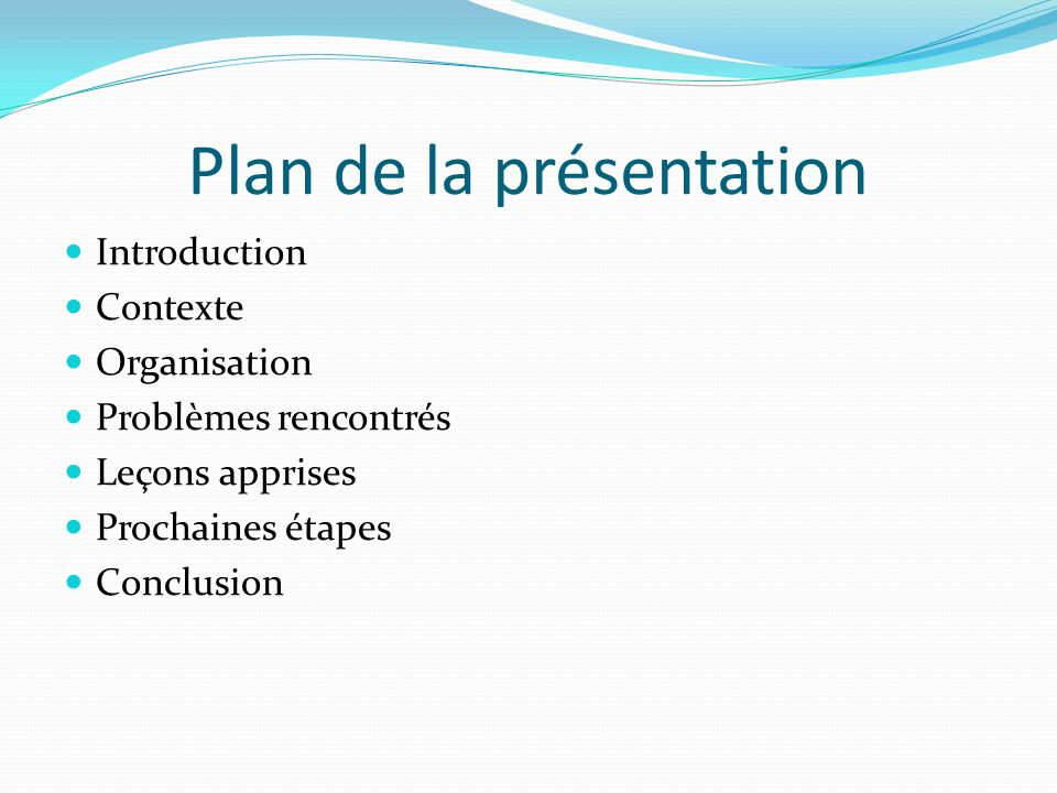 Plan de la présentation Introduction Contexte Organisation Problèmes rencontrés Leçons apprises Prochaines étapes Conclusion