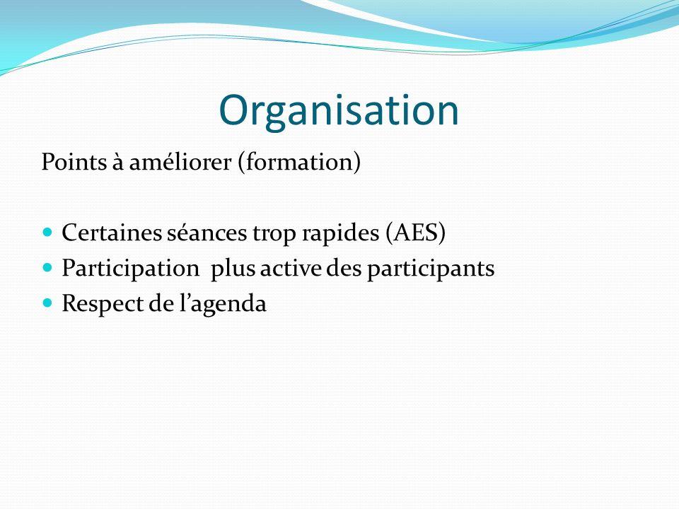 Organisation Points à améliorer (formation) Certaines séances trop rapides (AES) Participation plus active des participants Respect de lagenda