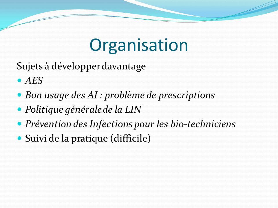 Organisation Sujets à développer davantage AES Bon usage des AI : problème de prescriptions Politique générale de la LIN Prévention des Infections pour les bio-techniciens Suivi de la pratique (difficile)
