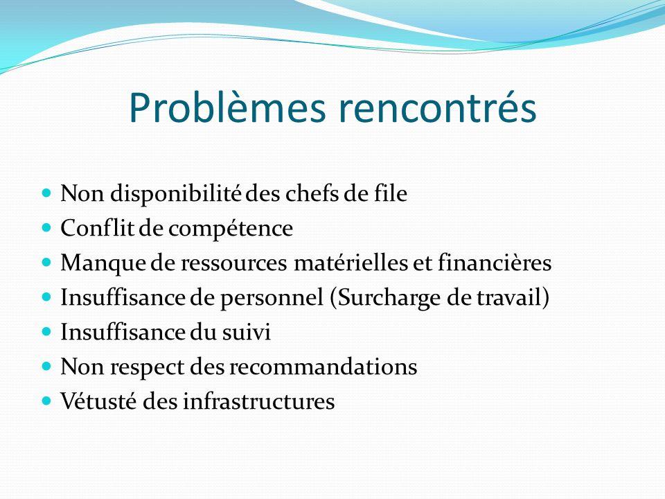 Problèmes rencontrés Non disponibilité des chefs de file Conflit de compétence Manque de ressources matérielles et financières Insuffisance de personn