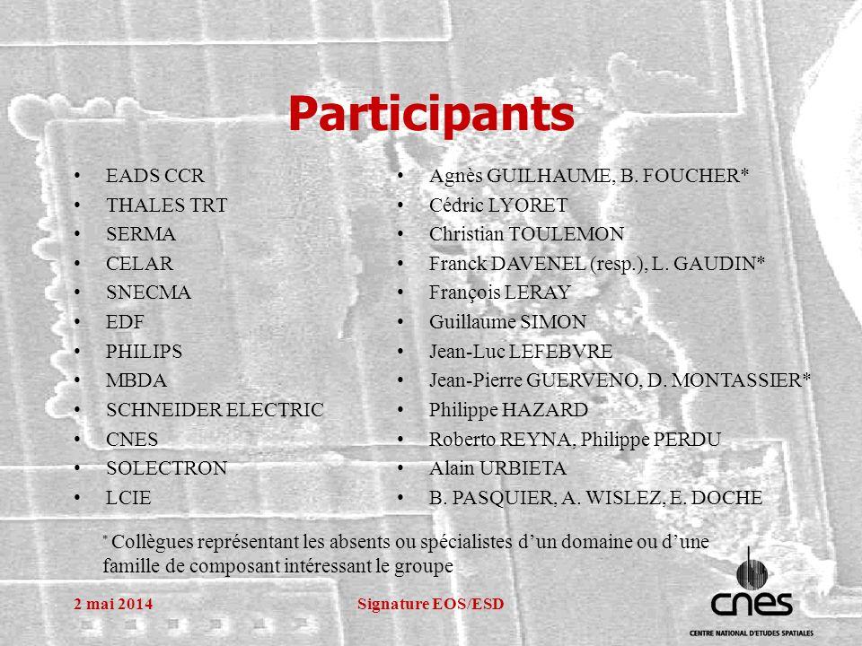 2 mai 2014Signature EOS/ESD Participants EADS CCR THALES TRT SERMA CELAR SNECMA EDF PHILIPS MBDA SCHNEIDER ELECTRIC CNES SOLECTRON LCIE Agnès GUILHAUME, B.