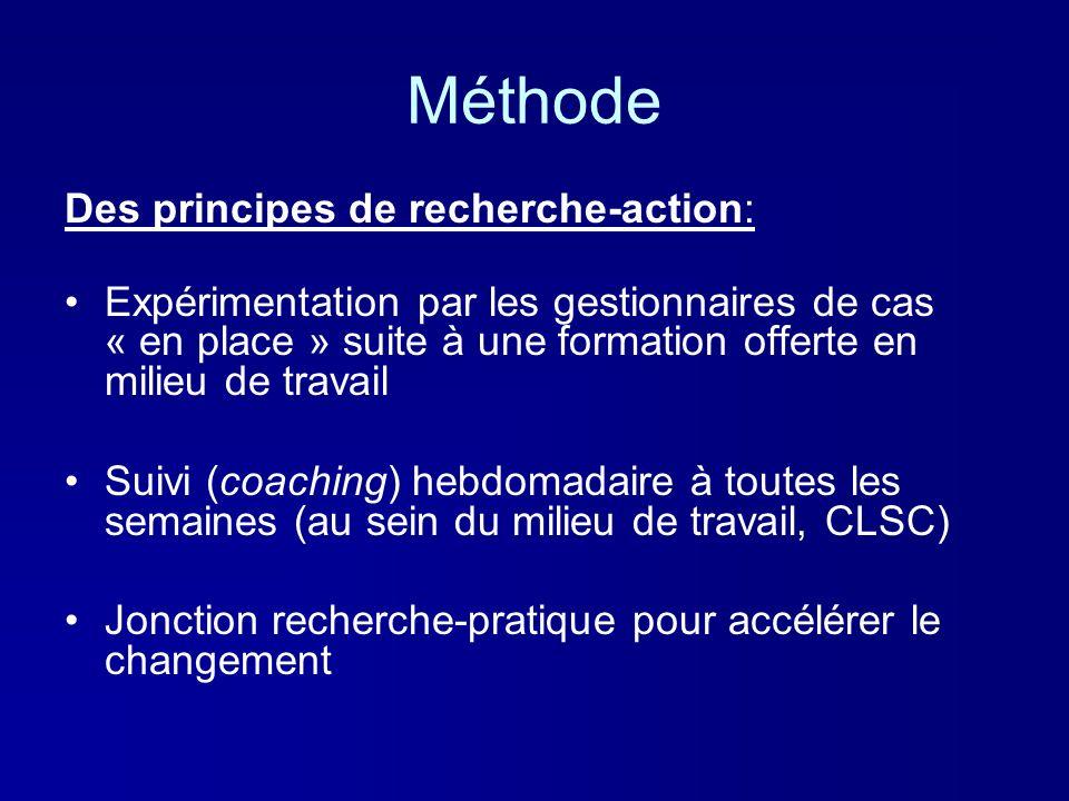 Méthode Des principes de recherche-action: Expérimentation par les gestionnaires de cas « en place » suite à une formation offerte en milieu de travai