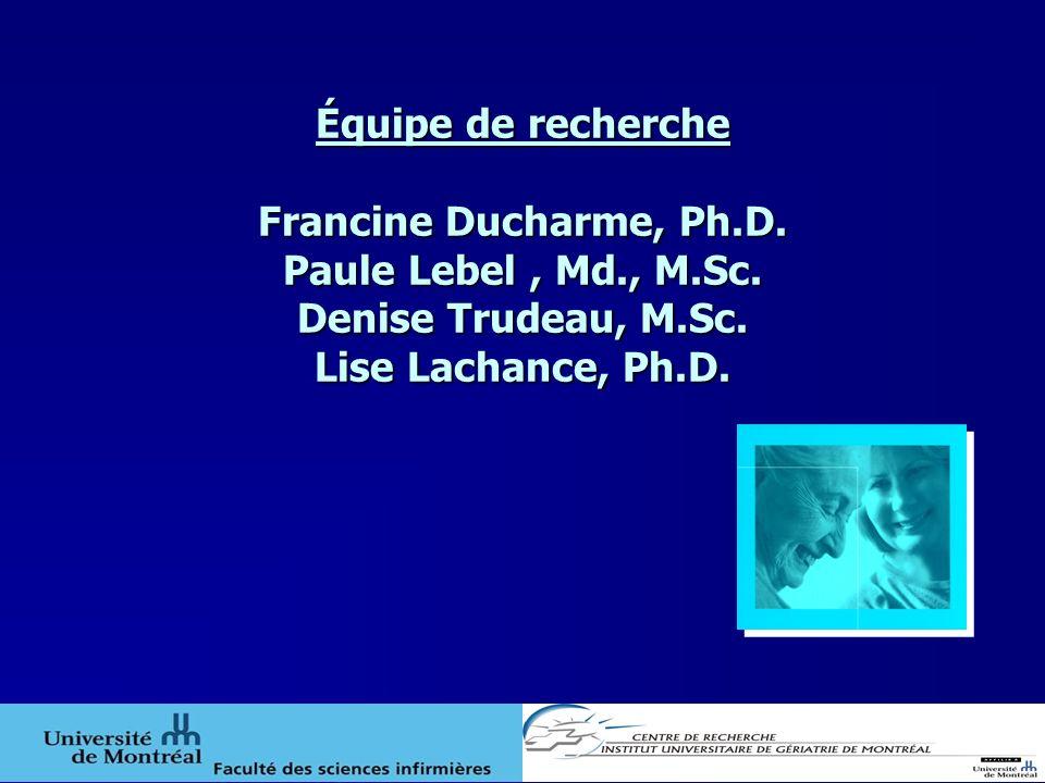Équipe de recherche Francine Ducharme, Ph.D. Paule Lebel, Md., M.Sc. Denise Trudeau, M.Sc. Lise Lachance, Ph.D.