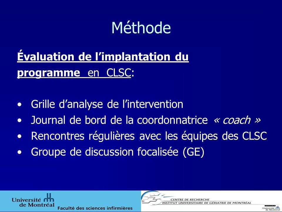 Méthode Évaluation de limplantation du programme en CLSC: Grille danalyse de lintervention Journal de bord de la coordonnatrice « coach » Rencontres r