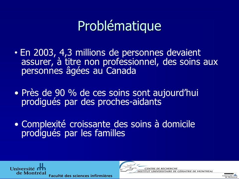 Problématique En 2003, 4,3 millions de personnes devaient assurer, à titre non professionnel, des soins aux personnes âgées au Canada Près de 90 % de
