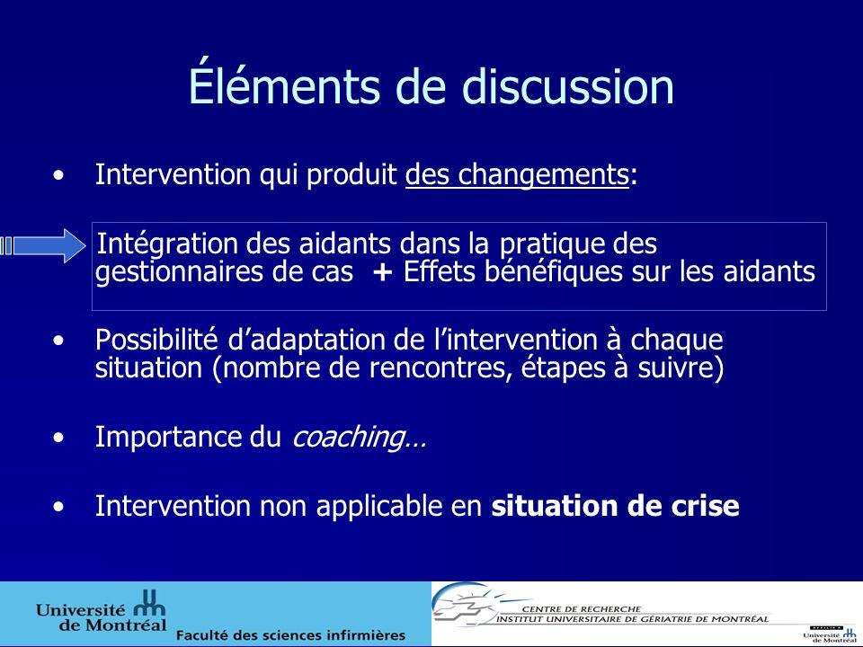 Éléments de discussion Intervention qui produit des changements: Intégration des aidants dans la pratique des gestionnaires de cas + Effets bénéfiques