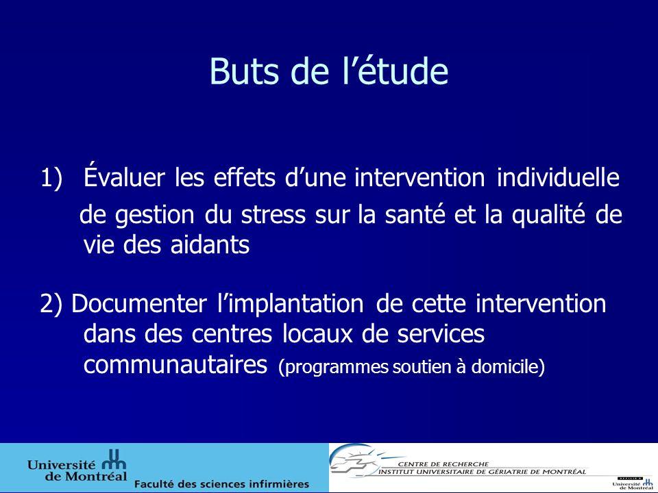 Buts de létude 1)Évaluer les effets dune intervention individuelle de gestion du stress sur la santé et la qualité de vie des aidants 2) Documenter li