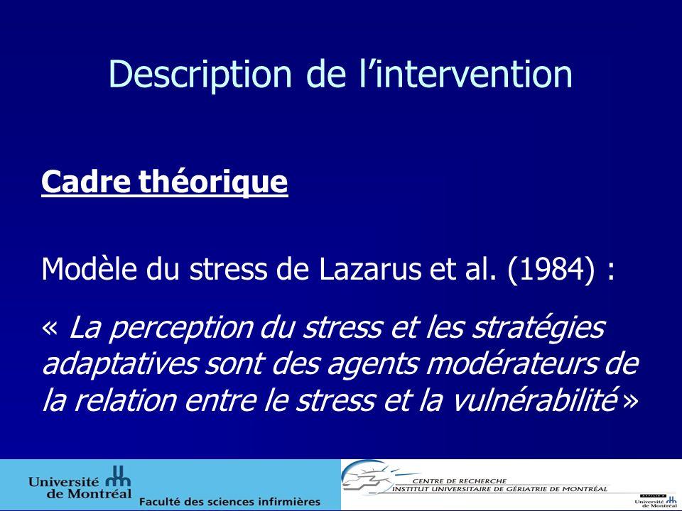Description de lintervention Cadre théorique Modèle du stress de Lazarus et al. (1984) : « La perception du stress et les stratégies adaptatives sont