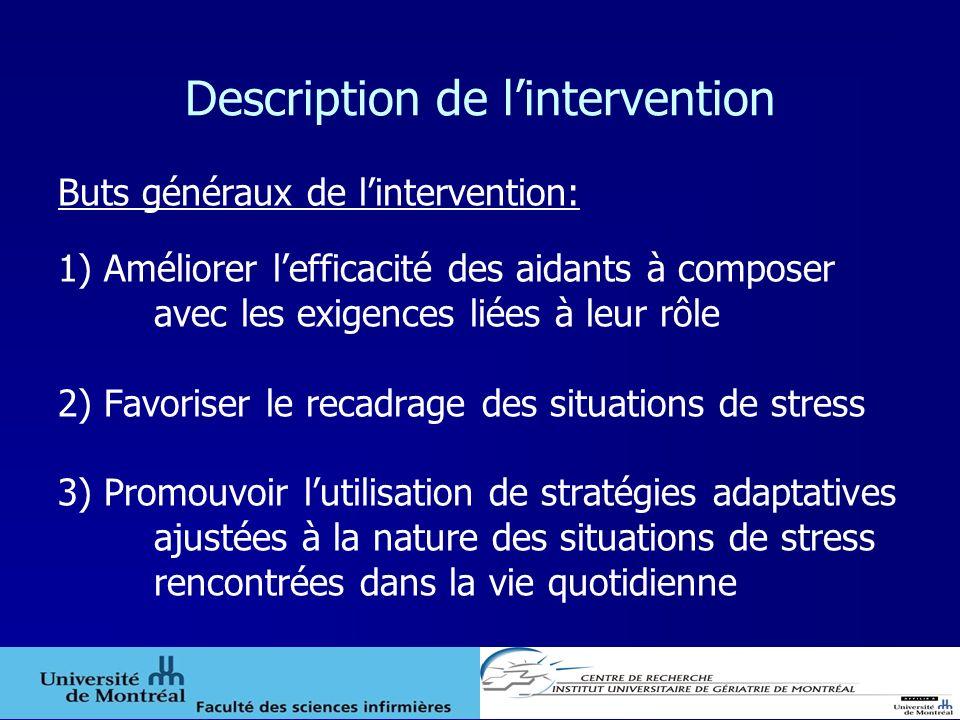 Description de lintervention Buts généraux de lintervention: 1) Améliorer lefficacité des aidants à composer avec les exigences liées à leur rôle 2) F
