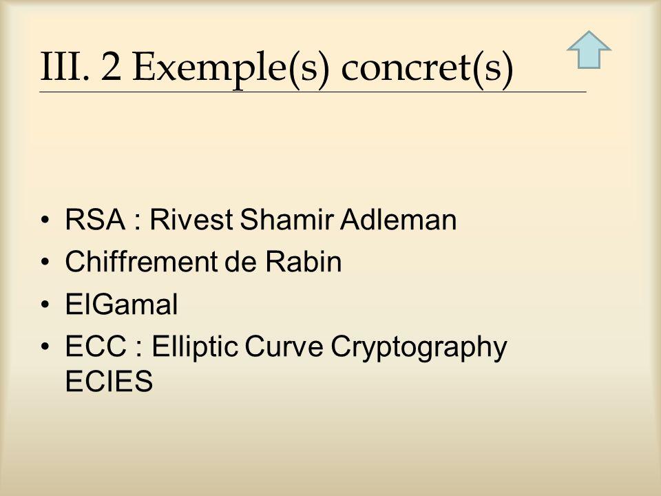 III. 2 Exemple(s) concret(s) RSA : Rivest Shamir Adleman Chiffrement de Rabin ElGamal ECC : Elliptic Curve Cryptography ECIES
