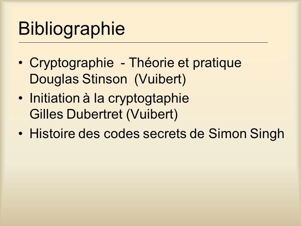 Bibliographie Cryptographie - Théorie et pratique Douglas Stinson (Vuibert) Initiation à la cryptogtaphie Gilles Dubertret (Vuibert) Histoire des codes secrets de Simon Singh
