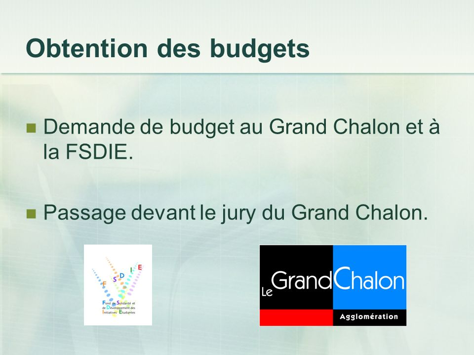 Obtention des budgets Demande de budget au Grand Chalon et à la FSDIE. Passage devant le jury du Grand Chalon.
