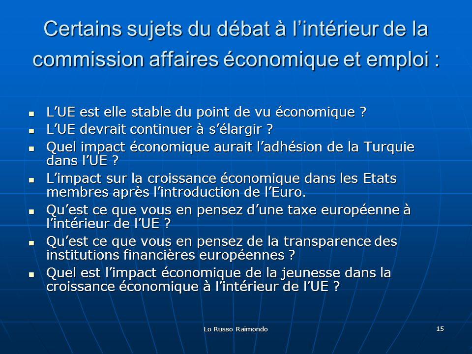 Lo Russo Raimondo 15 Certains sujets du débat à lintérieur de la commission affaires économique et emploi : LUE est elle stable du point de vu économique .