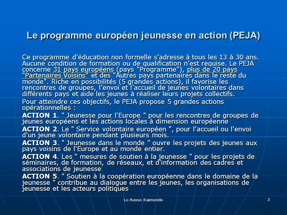 Lo Russo Raimondo 2 Le programme européen jeunesse en action (PEJA) Ce programme déducation non formelle sadresse à tous les 13 à 30 ans.