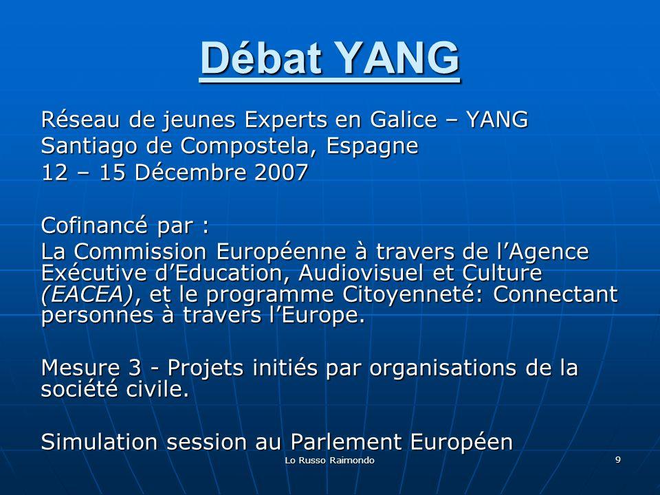 Lo Russo Raimondo 10 Débat YANG 12 Décembre 13 Décembre 14 Décembre 15 Décembre MATIN (11:00 a 14:00) Présentation des perspectives de lUE (10:00 a 14:00) Débat aux Commissions (10:00 a 14:00) Débat aux Commissions (9:00 a 13:00) Session plénière au Parlement APRES-MIDI (16:30 a 20:00) La route de Saint-Jacques et lintégration européenne (17:00 a 19:00) Présentation et discussion des programmes de lUE (18:00 a 21:00) Projection documentaire nouveaux membres de lUE // Foire culturelle AGENDA AGENDA