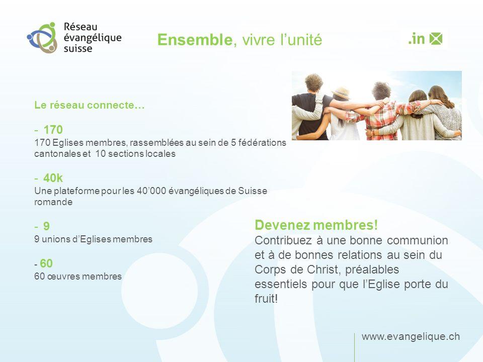 www.evangelique.ch Ensemble, vivre lunité Le réseau connecte… -170 170 Eglises membres, rassemblées au sein de 5 fédérations cantonales et 10 sections