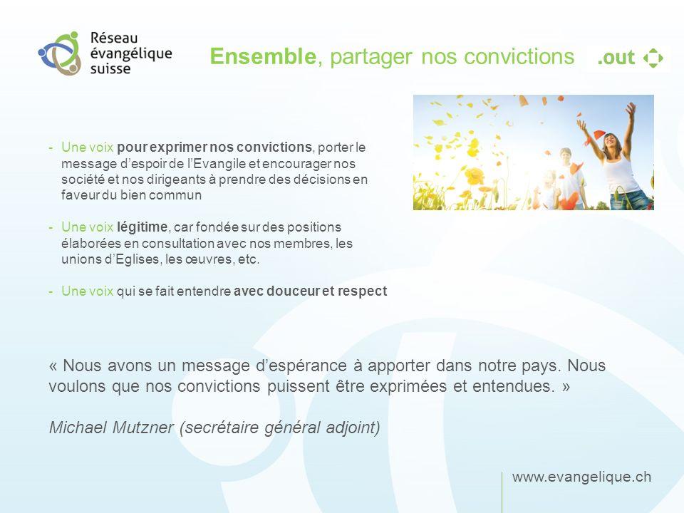 www.evangelique.ch Ensemble, partager nos convictions -Une voix pour exprimer nos convictions, porter le message despoir de lEvangile et encourager no