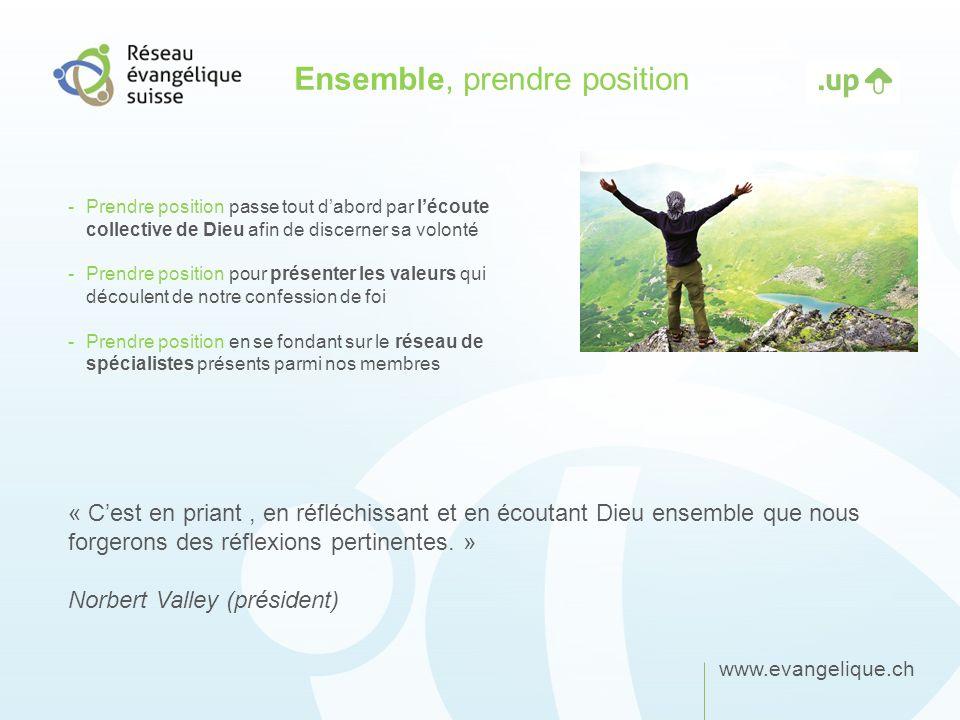 www.evangelique.ch Ensemble, prendre position -Prendre position passe tout dabord par lécoute collective de Dieu afin de discerner sa volonté -Prendre