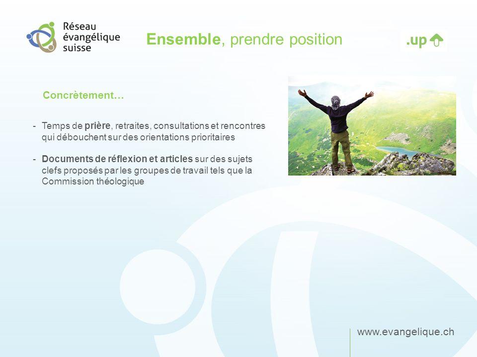 www.evangelique.ch Ensemble, prendre position -Temps de prière, retraites, consultations et rencontres qui débouchent sur des orientations prioritaire