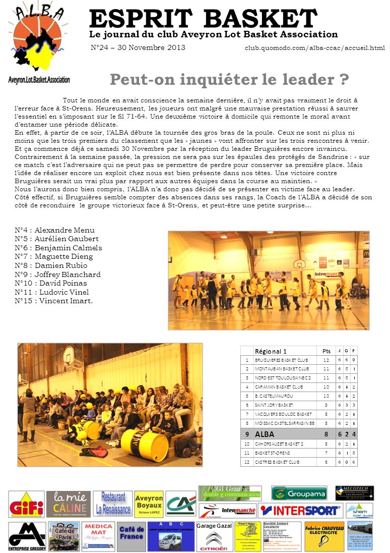 ESPRIT BASKET Le journal du club Aveyron Lot Basket Association N°24 – 30 Novembre 2013 club.quomodo.com/alba-ccac/accueil.html Peut-on inquiéter le l