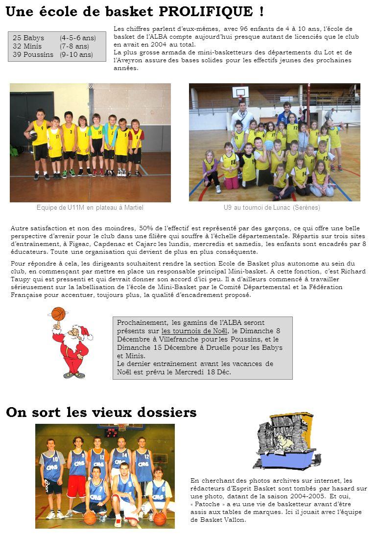 Une école de basket PROLIFIQUE ! 25 Babys(4-5-6 ans) 32 Minis(7-8 ans) 39 Poussins(9-10 ans) Les chiffres parlent deux-mêmes, avec 96 enfants de 4 à 1