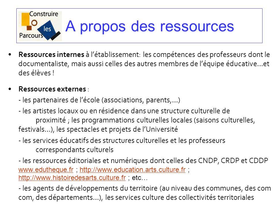A propos des ressources Ressources internes à létablissement: les compétences des professeurs dont le documentaliste, mais aussi celles des autres mem