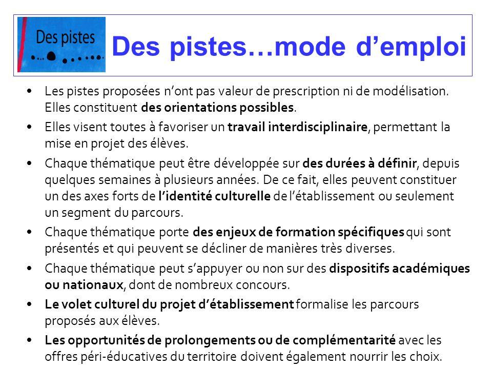 Des pistes…mode demploi Les pistes proposées nont pas valeur de prescription ni de modélisation. Elles constituent des orientations possibles. Elles v