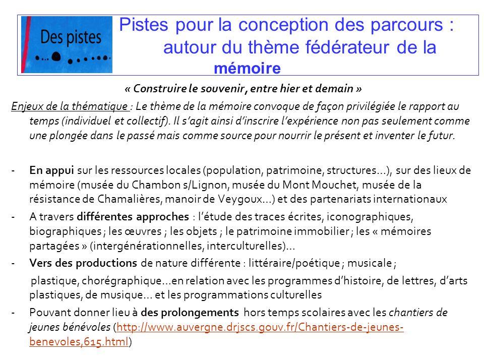 Pistes pour la conception des parcours : autour du thème fédérateur de la mémoire « Construire le souvenir, entre hier et demain » Enjeux de la thémat