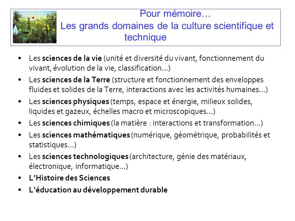 Pour mémoire… Les grands domaines de la culture scientifique et technique Les sciences de la vie (unité et diversité du vivant, fonctionnement du viva