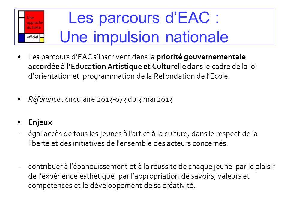 Les parcours dEAC : Une impulsion nationale Les parcours dEAC sinscrivent dans la priorité gouvernementale accordée à lEducation Artistique et Culture