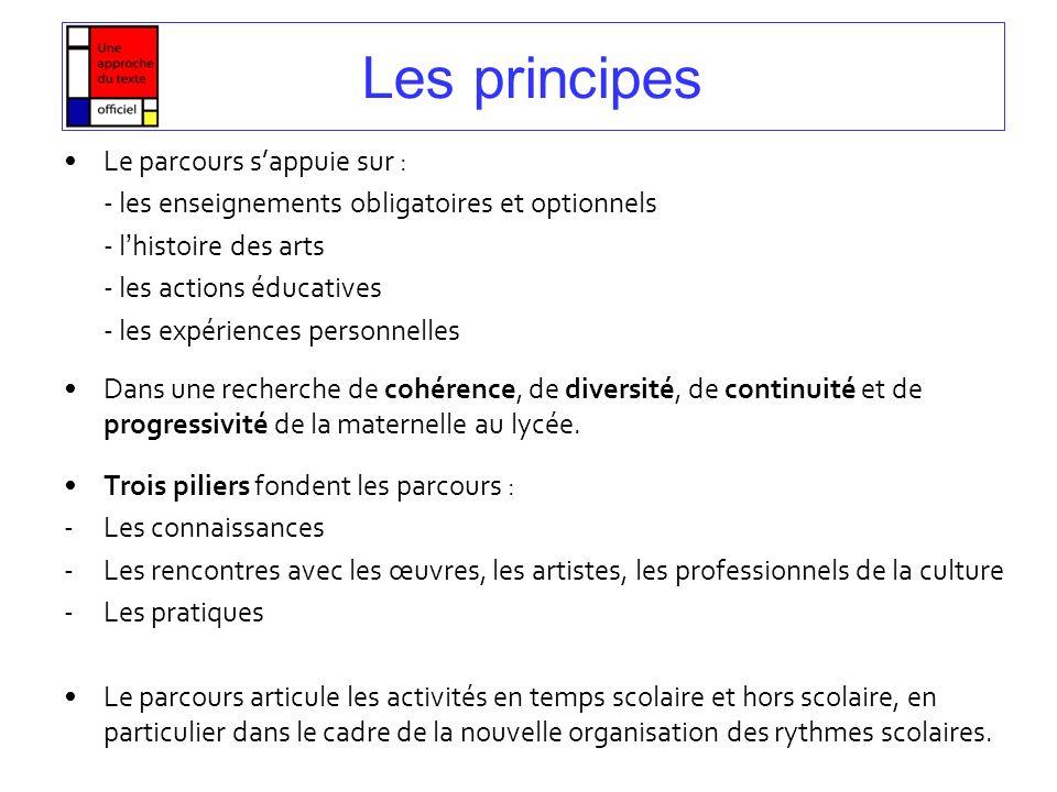 Les principes Le parcours sappuie sur : - les enseignements obligatoires et optionnels - lhistoire des arts - les actions éducatives - les expériences