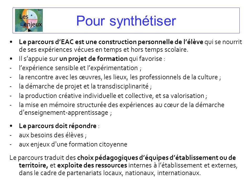 Pour synthétiser Le parcours dEAC est une construction personnelle de lélève qui se nourrit de ses expériences vécues en temps et hors temps scolaire.