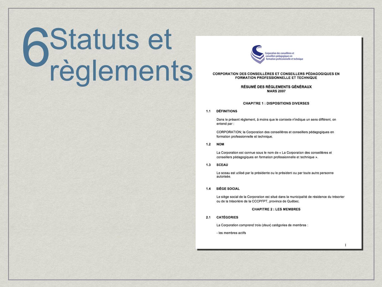 Statuts et règlements 6