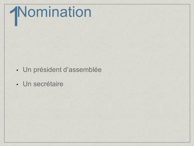 Adoption de lordre du jour 1.Nomination dun président et d un secrétaire dassemblée 2.Lecture et adoption de lordre du jour 3.Lecture et adoption du procès-verbal de lassemblée générale du 26 mars 2009 4.Rapport annuel du conseil dadministration 5.Adoption des états financiers 6.Statuts et règlements 7.Nomination des nouveaux administrateurs 8.Demandes du CPIQ 9.Journée thématique 2010 10.Colloque 2011 : Région hôte 11.Affaires nouvelles 12.Clôture 2