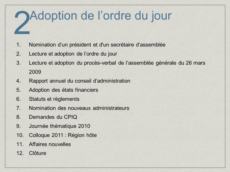 Adoption de lordre du jour 1.Nomination dun président et d'un secrétaire dassemblée 2.Lecture et adoption de lordre du jour 3.Lecture et adoption du p