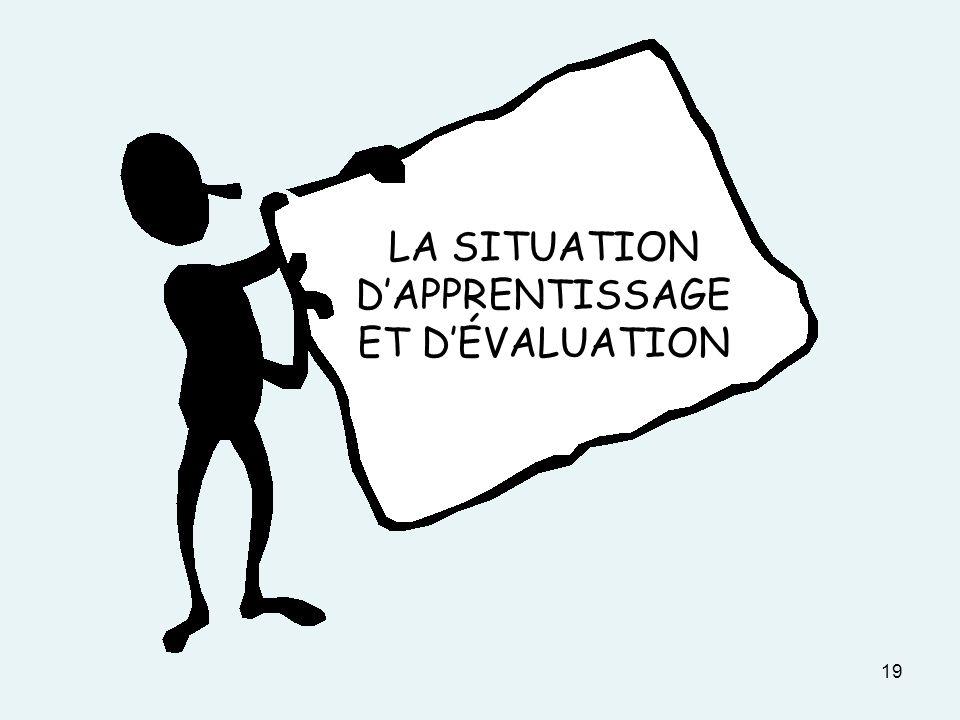 19 LA SITUATION DAPPRENTISSAGE ET DÉVALUATION
