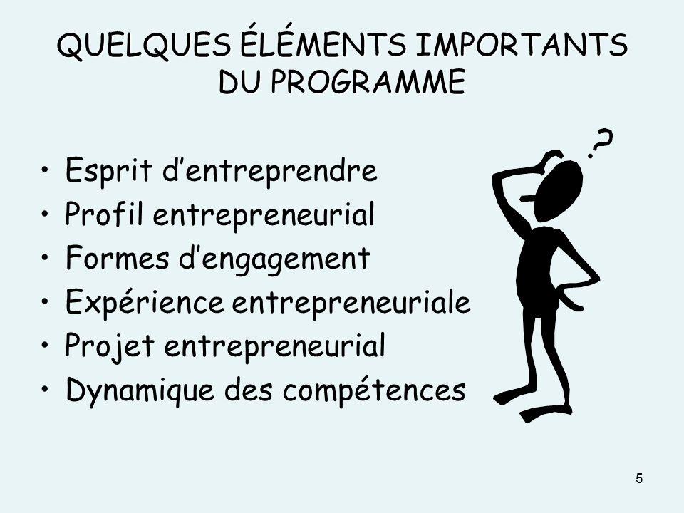 QUELQUES ÉLÉMENTS IMPORTANTS DU PROGRAMME Esprit dentreprendre Profil entrepreneurial Formes dengagement Expérience entrepreneuriale Projet entreprene