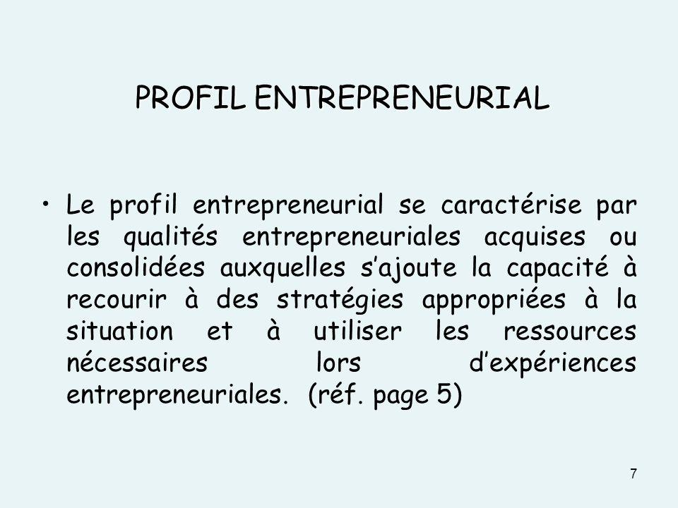 PROFIL ENTREPRENEURIAL Le profil entrepreneurial se caractérise par les qualités entrepreneuriales acquises ou consolidées auxquelles sajoute la capac