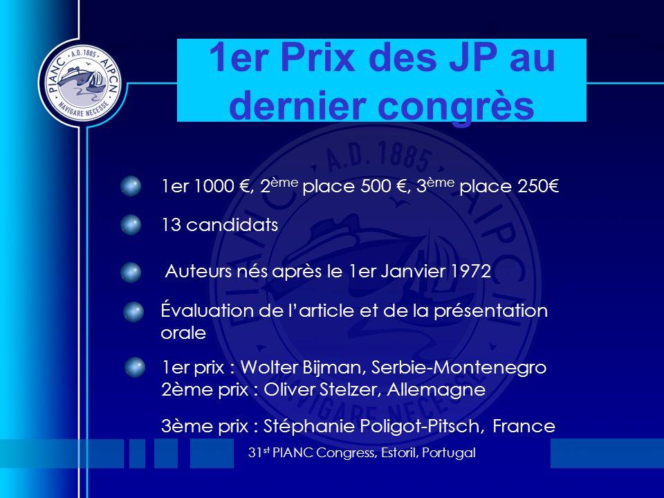31 st PIANC Congress, Estoril, Portugal 1er Prix des JP au dernier congrès 1er 1000, 2 ème place 500, 3 ème place 250 13 candidats Auteurs nés après l
